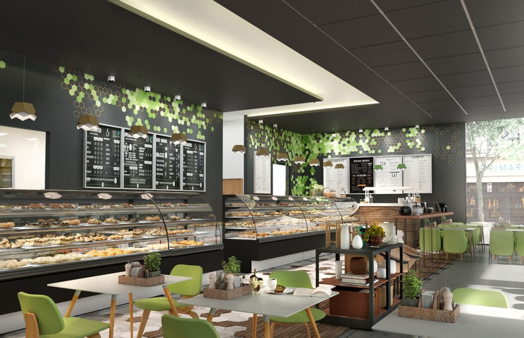 Aventura Eco-Friendly Restaurant Interior Design by InnoDez, dark gray walls and ceiling contrasted by lime green upholstered chairs and large concrete floor tiles, natural daylight flooding the interior through floor to ceiling glass walls.