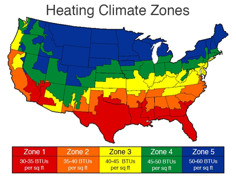 Heating BTU Climate Zones